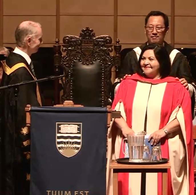 Author Eden Robinson receiving an honorary docotrate from The University of British Columbia